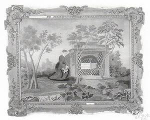American silk on silk needlework and watercolor memorial ca 1849