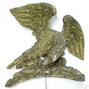 American or English carved giltwood spread winged eagle ornament late 18th c