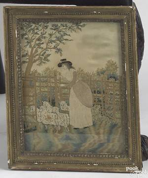 English silk on silk pictorial needlework early 19th c