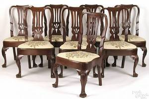 Set of 8 English Queen Anne mahogany dining side chairs ca 1750