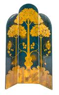 A Lacquered Gilt Painted ThreePaneled Folding Screen