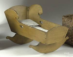 Pennsylvania painted pine and poplar doll cradle 19th c