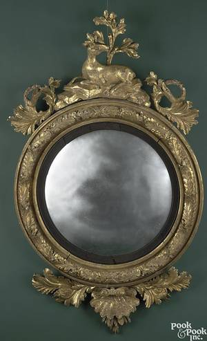 English or American carved giltwood girondole mirror ca 1780