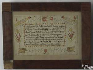 Pennsylvania watercolor and ink on paper fraktur birth certificate for Adam Boyer Montgomery County dated 1818