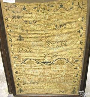 New England silk on linen sampler wrought by Mary DuShane in 1782