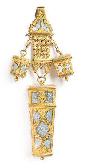 A Continental MotherofPearl Mounted Gilt Metal Chatelaine