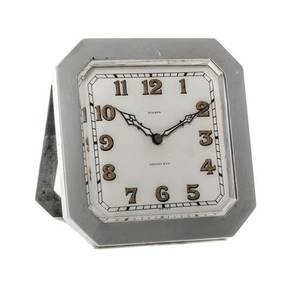 A Swiss Silver Desk Clock