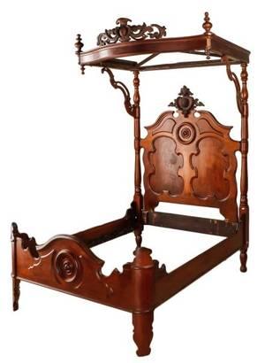 American Rococo Revival Walnut Half Tester Bed