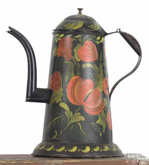 Pennsylvania tole decorated tin coffee pot early 20th c