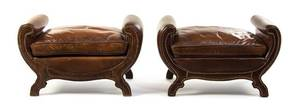A Pair of Regency Style Upholstered Ottomans