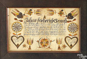 Northampton County Pennsylvania watercolor and ink on paper fraktur birth certificate for Johan Graus dated 1790