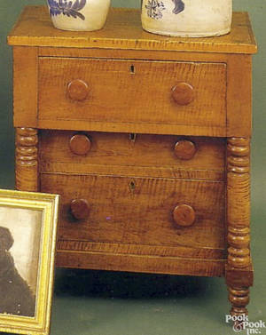 Lancaster County Pennsylvania painted miniature blanket chest ca 1830