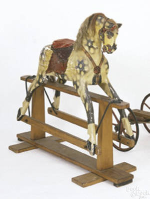Large painted rocking horse ca 1860