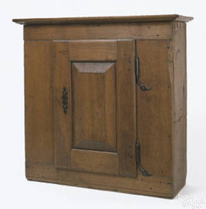 Lancaster CountyPennsylvania walnut hanging wall cupboard ca 1770