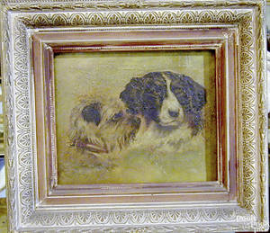 American oil on canvas dog portrait late 19th c