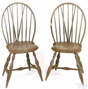Rare pair of Rhode Island windsor side chairs ca 1790