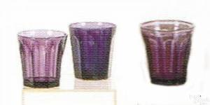 Three Pittsburgh glass amethyst tumblers 19th c