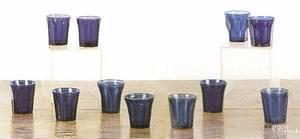 Eleven Pittsburgh glass blue tumblers 19th c