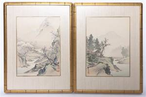 Two Japanese Watercolors on Silk