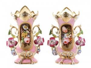 Pair of Old Paris Style Pink Porcelain Vases