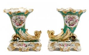 Pair of Old Paris Porcelain Cornucopia Vases