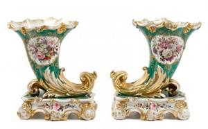 Pair of Old Paris Porcelain Cornucopia Vases