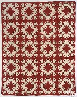 Pennsylvania red and white pieced quilt