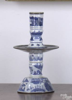 Pair of Chinese export blue and white porcelain 2piece candlesticks early 19th c