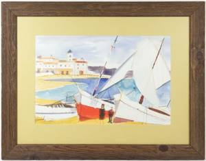 Charles Levier Watercolor Sailboats in Harbor