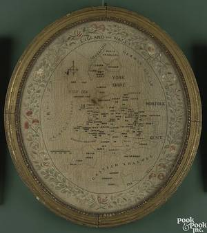English silk on linen oval needlework picture ca 1820