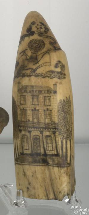 Scrimshaw whales tooth ca 1850