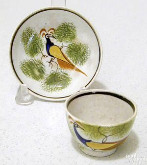 Miniature green spatter Leeds cup and saucer 19th c