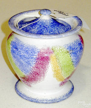 Blue green red and yellow rainbow drape spatter sugar bowl 19th c