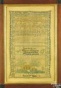 Pennsylvania silk on linen sampler wrought by Sarah DW Barrett early 19th c