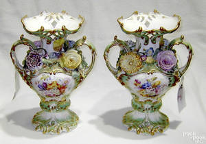 Pair of German porcelain vases late 19th c