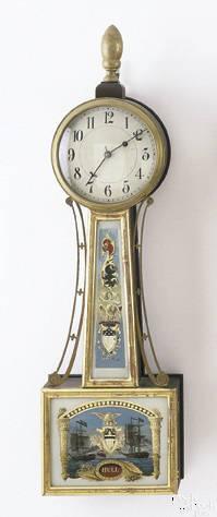 American Federal mahogany banjo clock ca 1810