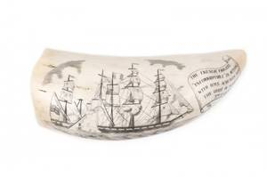 Early 19th C French Whales Tooth Scrimshaw