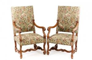 Pair of French Louis XIII Style Walnut Fauteuils