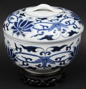 Blue  White Porcelain Cache Pot