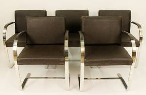 Five Knoll Chrome Armchairs
