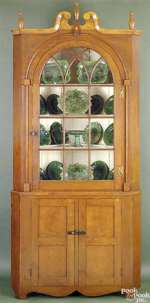 Pennsylvania Federal cherry architectural corner cupboard ca 1810