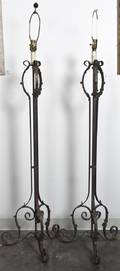 A Pair of Wrought Iron Floor Lamps