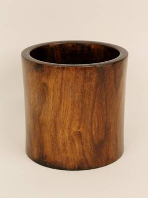 Chinese Hardwood Cylindrical Vase or Brush Pot