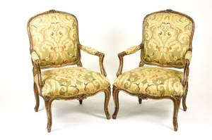 Pair of French Louis XV Style Painted Fauteuils