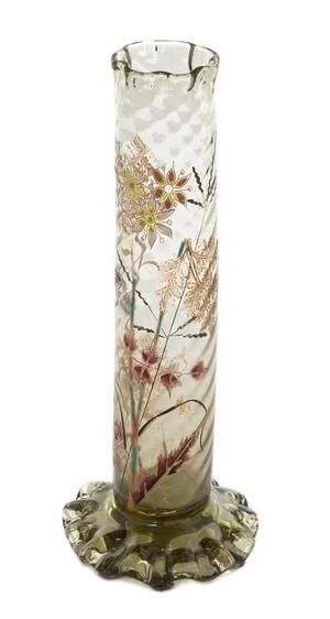 An Emile Galle Enameled Glass Vase