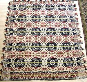 Pennsylvania red green and blue jacquard coverlet mid 19th c