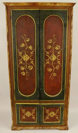 Polychromed Armoire wFoliate Decoration