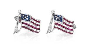 A Pair of Platinum Diamond Ruby and Sapphire American Flag Cufflinks Oscar Heyman Brothers Previously owned by President Jimmy Carter