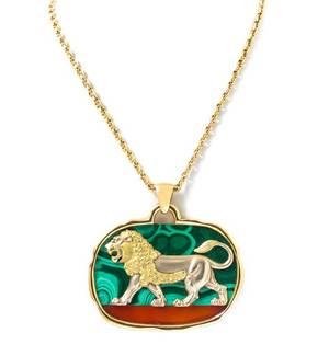 An 18 Karat Yellow Gold Malachite and Carnelian Lion Necklace Van Cleef  Arpels