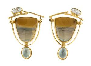 A Pair of Yellow Gold Landscape Agate Freshwater Pearl and Blue Topaz Earclips Carolyn Morris Bach